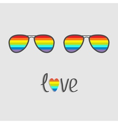 Two glasses with rainbow lenses Word love vector image