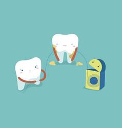 Use dental floss white healthy teeth teeth and to vector