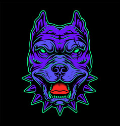 Vintage angry pitbull head concept vector