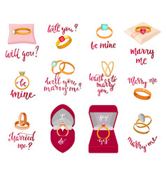 Wedding rings marriage proposal merry me vector