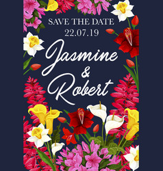 wedding save the date banner for invitation card vector image
