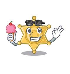 With ice cream star badge police on a cartoon vector
