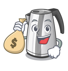 With money bag electric stainless steel kettle on vector