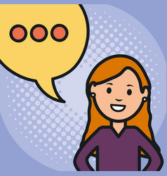 Woman and speech bubble with consecutive points vector