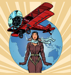 woman pilot a vintage biplane airplane vector image