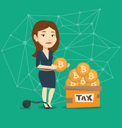woman putting bitcoin coin in box for taxes vector image