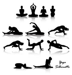 Yoga position silhouette set vector