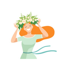 Young beautiful redhead woman with flower wreath vector