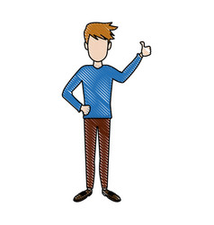 young man standing cartoon person image vector image