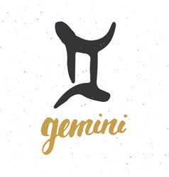 Zodiac sign gemini and lettering hand drawn vector