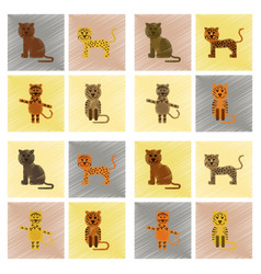 assembly flat shading style icons cartoon panther vector image vector image