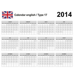 Calendar 2014 English Type 17 vector image