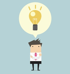 Creative businessman get the idea under a lightbul vector image vector image