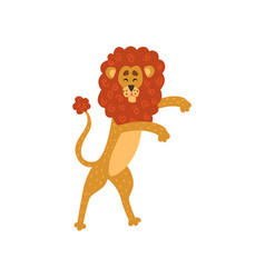 cute lion cartoon character standing on two legs vector image vector image