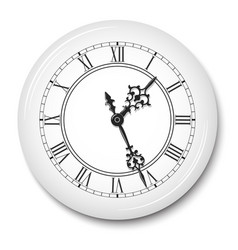 elegant wall clock with roman numerals in white vector image vector image