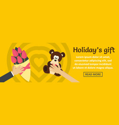 holidays gift banner horizontal concept vector image