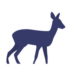 Standing deer silhouette on white background vector