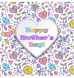 card with flowers and hearts vector image vector image
