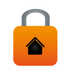 colorful padlock with silhouette house inside vector image