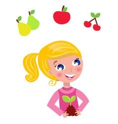 cute little gardener child vector image vector image