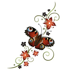 Tendril butterfly flowers vector image vector image