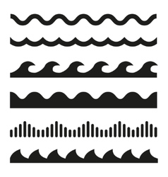 black wave icons set vector image vector image