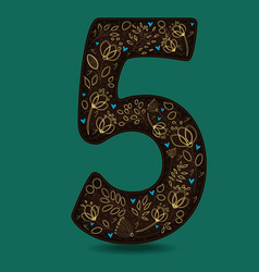 Dark brown number five with golden floral decor vector