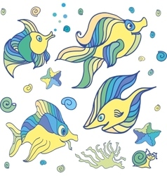 Group of sea creatures vector image