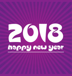 happy new year 2018 on purple stripped background vector image vector image