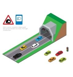 Interior of an urban walkway tunnel road tunnel vector