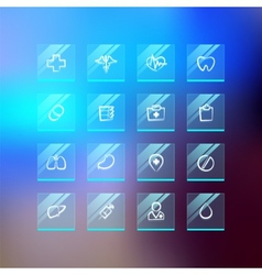 Medical Flat Glass Icons on Blur Background vector image