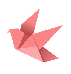 paper origami pink bird isolated on white vector image