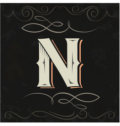 Retro style western letter design letter n vector