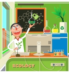 Scientist in chemical lab cartoon vector image