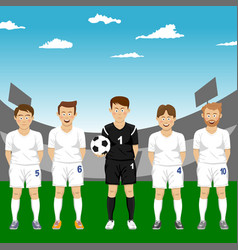 soccer players team group in stadium vector image