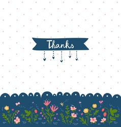 Thank you card with floral decorations vector image vector image