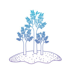 trees set in grassland in degraded blue to purple vector image vector image