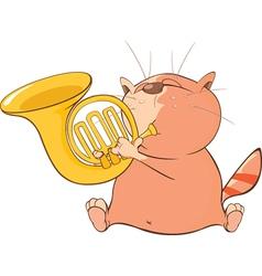 Cute Cat Trumpeter Cartoon vector image vector image