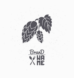 hand drawn silhouette of hop branch vector image vector image