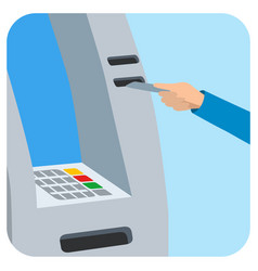 hand inserting credit card into the atm slot vector image