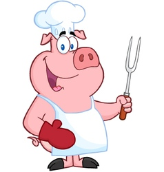 Happy Pig Chef Holding A Fork vector image