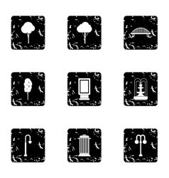 Holiday in garden icons set grunge style vector image vector image