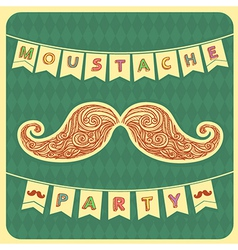 Moustache party background with text vector image vector image