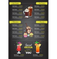 Restaurant vertical color cocktail menu vector image