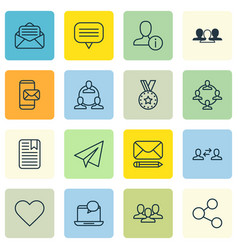set of 16 communication icons includes vector image
