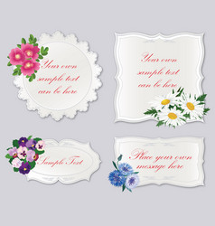 set of cute frame with flowers holiday floral vector image vector image