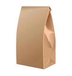 takeaway closed paper bag isolated on white vector image vector image
