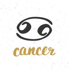 zodiac sign cancer and lettering hand drawn vector image vector image