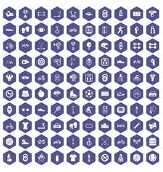 100 sport icons hexagon purple vector