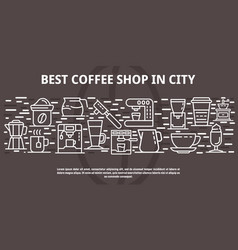 Best coffee shop in city banner outline style vector